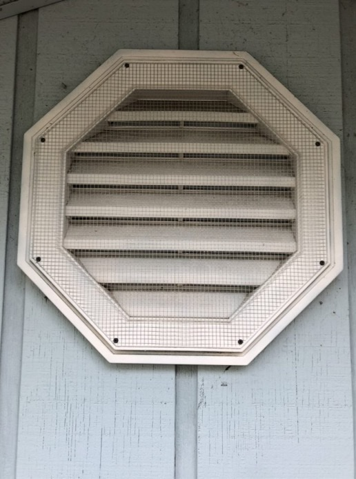 repaired gable vent with rat proof screen